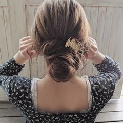 ヘアアレンジ フェミニン 結婚式 デート ヘアスタイルや髪型の写真・画像