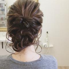 ミディアム ヘアアレンジ 春 結婚式 ヘアスタイルや髪型の写真・画像