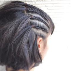 黒髪 ボブ 編み込み コーンロウ ヘアスタイルや髪型の写真・画像