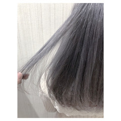 外国人風カラー ガーリー アッシュ セミロング ヘアスタイルや髪型の写真・画像