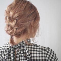 ヘアアレンジ 簡単ヘアアレンジ 編み込み ガーリー ヘアスタイルや髪型の写真・画像