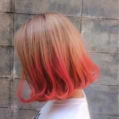 ボブ ストリート ピンク ナチュラル ヘアスタイルや髪型の写真・画像