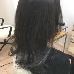ネイビーブルー モード ネイビーアッシュ ロング ヘアスタイルや髪型の写真・画像