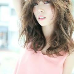 くせ毛風 ピュア パーマ セミロング ヘアスタイルや髪型の写真・画像