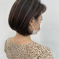 コンサバ ハイライト ミニボブ ショートボブ ヘアスタイルや髪型の写真・画像