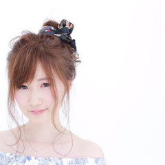 ヘアアレンジ ミディアム お団子 セミロング ヘアスタイルや髪型の写真・画像
