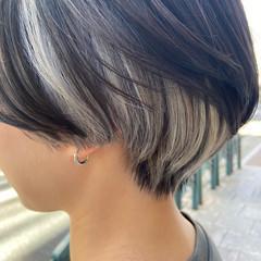 インナーカラー ボブ ブリーチ ホワイトブリーチ ヘアスタイルや髪型の写真・画像