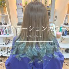 ブリーチオンカラー ブルー ブルーグラデーション モード ヘアスタイルや髪型の写真・画像