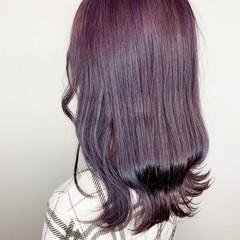 エレガント ピンクラベンダー ミディアム ラベンダーカラー ヘアスタイルや髪型の写真・画像
