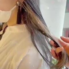 ベージュ ミディアム インナーカラー モード ヘアスタイルや髪型の写真・画像