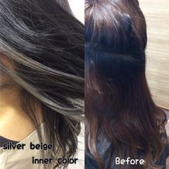 ヘアカラー ナチュラル可愛い セミロング インナーカラーグレー ヘアスタイルや髪型の写真・画像