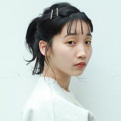 ミディアム ナチュラル シースルーバング 簡単ヘアアレンジ ヘアスタイルや髪型の写真・画像