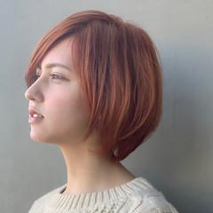 オレンジ アプリコットオレンジ ショートボブ オレンジベージュ ヘアスタイルや髪型の写真・画像