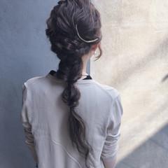暗髪 エクステ 三つ編み ヘアアレンジ ヘアスタイルや髪型の写真・画像