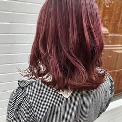ピンクラベンダー ボブ ベリーピンク フェミニン ヘアスタイルや髪型の写真・画像