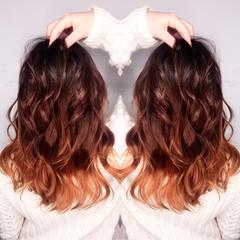 ゆるふわ ハイライト グラデーションカラー ストリート ヘアスタイルや髪型の写真・画像