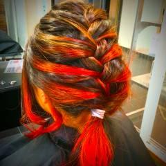 ヘアアレンジ グラデーションカラー ストリート 丸顔 ヘアスタイルや髪型の写真・画像