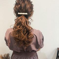 ヘアセット セミロング フェミニン ポニーテールアレンジ ヘアスタイルや髪型の写真・画像
