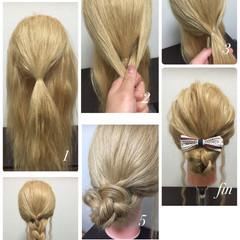 簡単ヘアアレンジ ゆるふわ ショート ロング ヘアスタイルや髪型の写真・画像