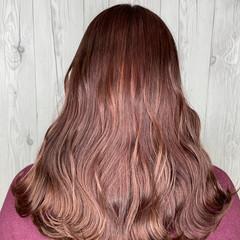 ピンクブラウン ピンクパープル ピンク ロング ヘアスタイルや髪型の写真・画像