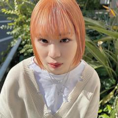 デザインカラー オレンジカラー ミニボブ コンパクトショート ヘアスタイルや髪型の写真・画像