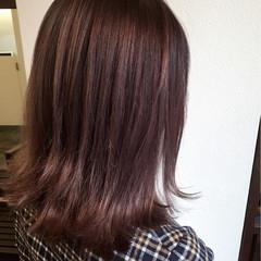 ガーリー グラデーションカラー レッド ミディアム ヘアスタイルや髪型の写真・画像