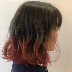 ハイトーン グラデーションカラー ストリート ボブ ヘアスタイルや髪型の写真・画像