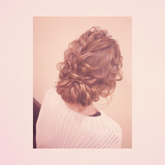 編み込み 結婚式 ルーズ 大人かわいい ヘアスタイルや髪型の写真・画像
