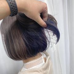 ガーリー インナーカラー ボブ イヤリングカラー ヘアスタイルや髪型の写真・画像