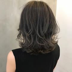 外国人風 ハイライト アッシュ ミディアム ヘアスタイルや髪型の写真・画像