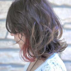 インナーカラー ピンク ボブ レッド ヘアスタイルや髪型の写真・画像
