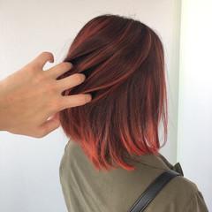 切りっぱなしボブ 髪質改善トリートメント インナーカラー ボブ ヘアスタイルや髪型の写真・画像