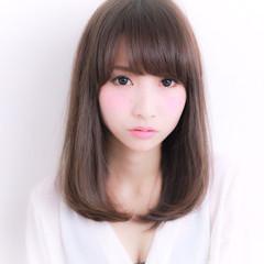 ミディアム 艶髪 ワンカール ナチュラル ヘアスタイルや髪型の写真・画像