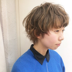 ウルフカット ショート ハイライト アッシュ ヘアスタイルや髪型の写真・画像