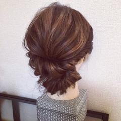 結婚式 ヘアアレンジ セミロング 二次会 ヘアスタイルや髪型の写真・画像