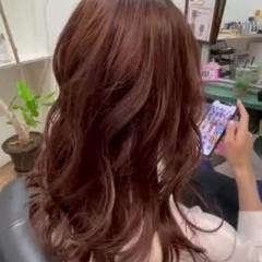 ロング ラベンダーアッシュ モーブ エレガント ヘアスタイルや髪型の写真・画像
