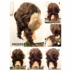 簡単ヘアアレンジ くるりんぱ ショート 三つ編み ヘアスタイルや髪型の写真・画像