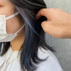 外ハネボブ インナーカラー 切りっぱなしボブ 透明感カラー ヘアスタイルや髪型の写真・画像