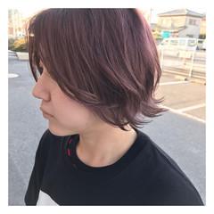 ピンク ピンクアッシュ 外ハネ ボブ ヘアスタイルや髪型の写真・画像