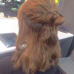 フェミニン 簡単ヘアアレンジ ミディアム ゆるふわ ヘアスタイルや髪型の写真・画像