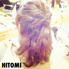 ロープ編み ヘアアレンジ ミディアム ハーフアップ ヘアスタイルや髪型の写真・画像