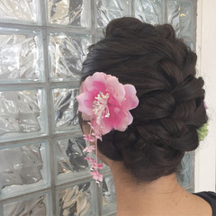 まとめ髪 ナチュラル 編み込み フェミニン ヘアスタイルや髪型の写真・画像