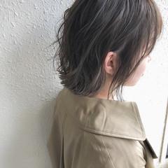 ショート ハイライト 切りっぱなしボブ モテボブ ヘアスタイルや髪型の写真・画像