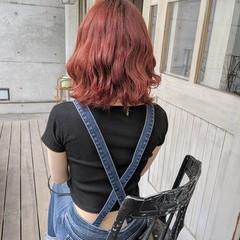 チェリーレッド ガーリー 簡単ヘアアレンジ 赤髪 ヘアスタイルや髪型の写真・画像
