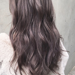 ラベンダーアッシュ ダブルカラー ブリーチ ロング ヘアスタイルや髪型の写真・画像