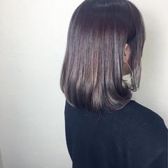 切りっぱなし ワンカール ボブ パープル ヘアスタイルや髪型の写真・画像