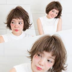 おフェロ シナモンベージュ ウェットヘア ナチュラル ヘアスタイルや髪型の写真・画像