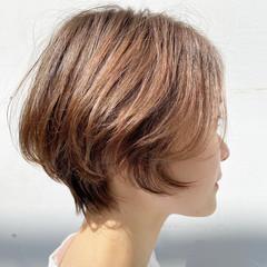ショート ショートボブ ブラウンベージュ ショートヘア ヘアスタイルや髪型の写真・画像