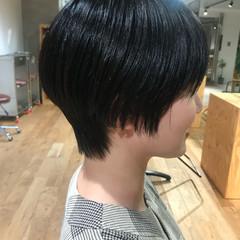 ショート 黒髪 ハンサムショート ショートバング ヘアスタイルや髪型の写真・画像
