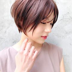 デジタルパーマ アッシュ ショートボブ ハンサムショート ヘアスタイルや髪型の写真・画像